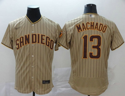 Padres #13 Manny Machado Brown Strip Authentic Alternate Stitched Baseball Jersey