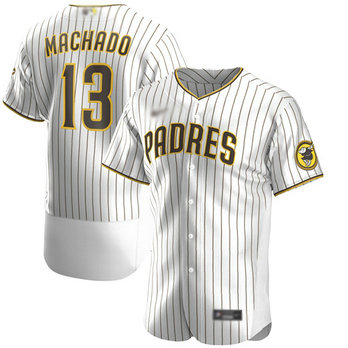 Padres #13 Manny Machado White Strip Authentic Alternate Stitched Baseball Jersey