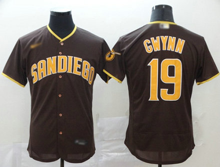 Padres #19 Tony Gwynn Brown Authentic Home Stitched Baseball Jersey