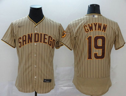 Padres #19 Tony Gwynn Brown Strip Authentic Alternate Stitched Baseball Jersey