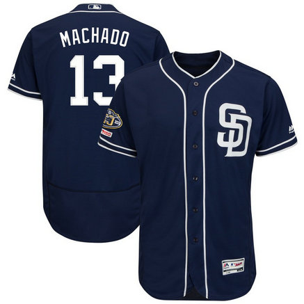Padres 13 Manny Machado Navy 50th Anniversary And 150th Patch FlexBase Jersey