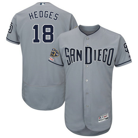 Padres 18 Austin Hedges Gray 50th Anniversary And 150th Patch FlexBase Jersey