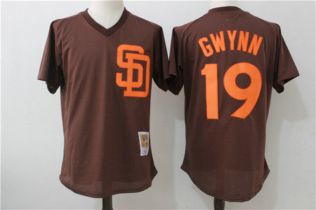Padres 19 Tony Gwynn Brown 1985 Cooperstown Collection Mesh Batting Practice Jersey