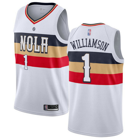Pelicans #1 Zion Williamson White Basketball Swingman Earned Edition Jersey