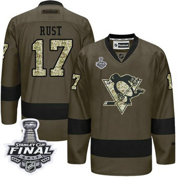 Penguins #17 Bryan Rust Green Salute to Service 2017 Stanley Cup Final Patch Stitched NHL Jersey