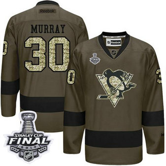Penguins #30 Matt Murray Green Salute to Service 2017 Stanley Cup Final Patch Stitched NHL Jersey