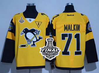 Penguins #71 Evgeni Malkin Gold 2017 Stadium Series Stanley Cup Final Patch Stitched NHL Jersey