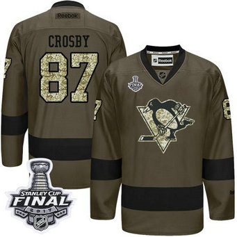 Penguins #87 Sidney Crosby Green Salute to Service 2017 Stanley Cup Final Patch Stitched NHL Jersey