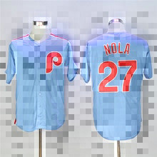 Philadelphia Phillies #27 Aaron Nola Light Blue Majestic Men's Cool Base Cooperstown Collection Jersey