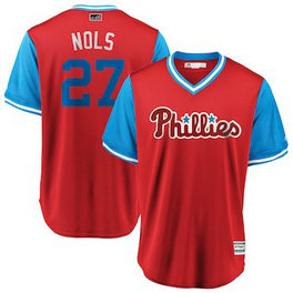 Philadelphia Phillies #27 Aaron Nola Nols Majestic Scarlet Men's 2018 Players' Weekend Cool Base Jersey