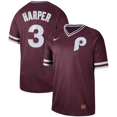 Philadelphia Phillies #3 Bryce Harper Nike Cooperstown Collection Legend V-Neck Jersey Maroon