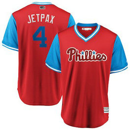 Philadelphia Phillies #4 Scott Kingery Jetpax Majestic Scarlet Men's 2018 Players' Weekend Cool Base Jersey