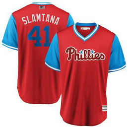 Philadelphia Phillies #41 Carlos Santana Slamtana Majestic Scarlet Men's 2018 Players' Weekend Cool Base Jersey