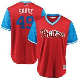 Philadelphia Phillies #49 Jake Arrieta Snake Majestic Scarlet Men's 2018 Players' Weekend Cool Base Jersey