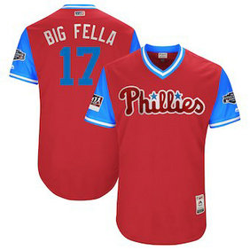 Philadelphia Phillies 17 Rhys Hoskins Big Fella Majestic Scarlet 2018 Players' Weekend Authentic Jersey