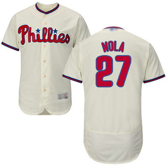 Phillies #27 Aaron Nola Cream Flexbase Authentic Collection Stitched MLB Jersey