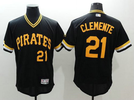 Pirates #21 Roberto Clemente Black Flexbase Authentic Collection Cooperstown Stitched Baseball Jersey