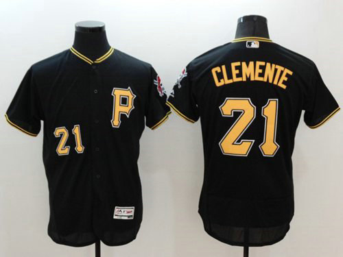Pirates #21 Roberto Clemente Black Flexbase Authentic Collection Stitched Baseball Jersey