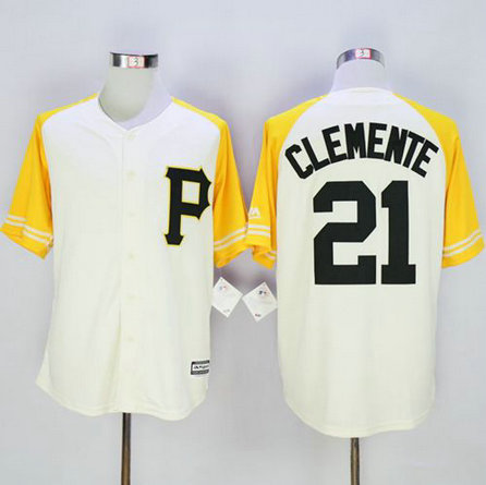 Pirates #21 Roberto Clemente Cream-Gold Exclusive New Cool Base Stitched Baseball Jersey