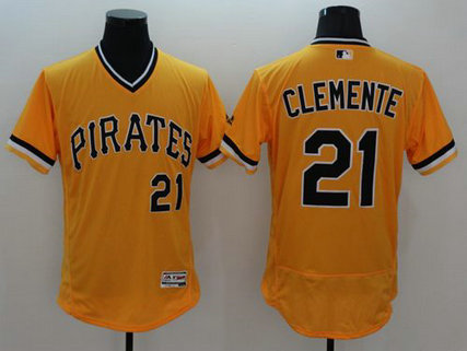 Pirates #21 Roberto Clemente Gold Flexbase Authentic Collection Cooperstown Stitched Baseball Jersey