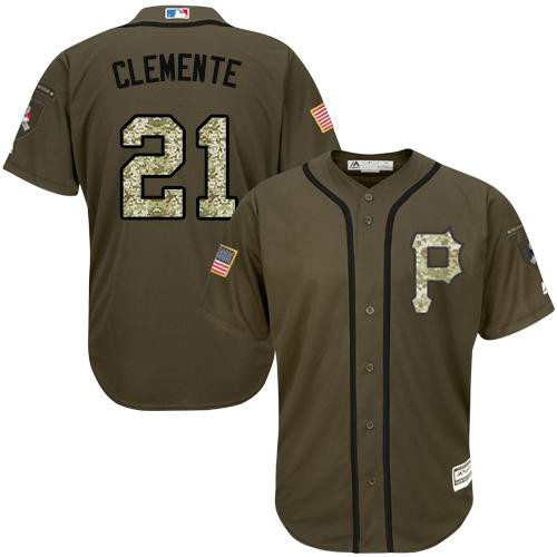 Pirates #21 Roberto Clemente Green Salute to Service Stitched Baseball Jersey