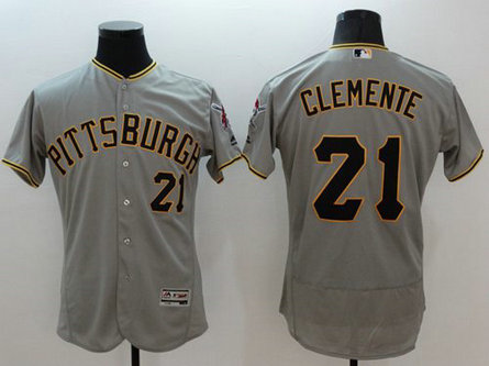 Pirates #21 Roberto Clemente Grey Flexbase Authentic Collection Stitched Baseball Jersey