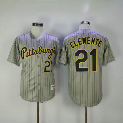 Pirates #21 Roberto Clemente Grey Strip 1997 Turn Back The Clock Stitched Baseball Jersey