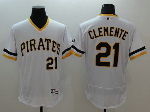 Pirates #21 Roberto Clemente White Flexbase Authentic Collection Cooperstown Stitched Baseball Jersey