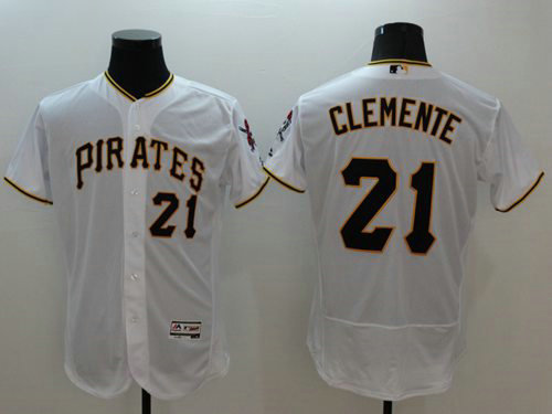 Pirates #21 Roberto Clemente White Flexbase Authentic Collection Stitched Baseball Jersey