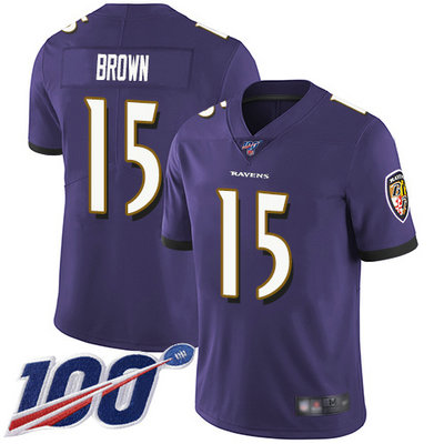Ravens #15 Marquise Brown Purple Team Color Men's Stitched Football 100th Season Vapor Limited Jersey