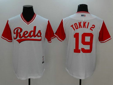 Reds 19 Joey Votto Tokki Majestic White 2017 Players Weekend Nickname Jersey