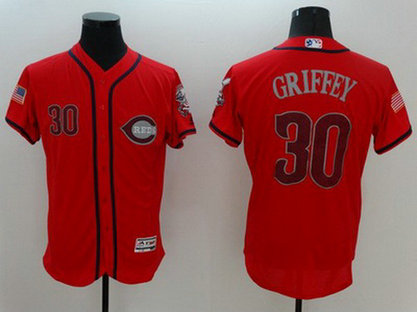 Reds 30 Griffey Red Fashion Stars & Stripes Flexbase Jersey