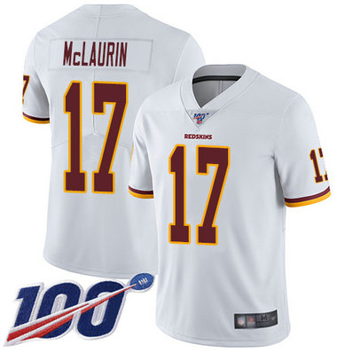 Redskins #17 Terry McLaurin White Men's Stitched Football 100th Season Vapor Limited Jersey