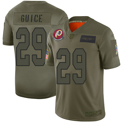 Redskins #29 Derrius Guice Camo Men's Stitched Football Limited 2019 Salute To Service Jersey