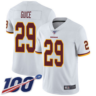 Redskins #29 Derrius Guice White Men's Stitched Football 100th Season Vapor Limited Jersey