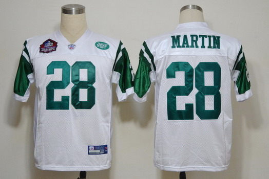 Reebok New York Jets #28 Curtis Martin Hall of Fame White Throwback Jersey
