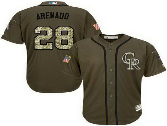 Rockies #28 Nolan Arenado Green Salute To Service Stitched Baseball Jersey