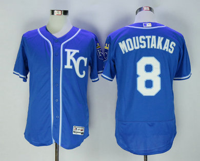 Royals 8 Mike Moustakas Blue Flexbase Jersey
