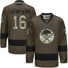 Sabres #16 Pat Lafontaine Green Salute To Service Stitched NHL Jersey