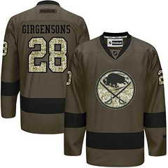 Sabres #28 Zemgus Girgensons Green Salute To Service Stitched NHL Jersey
