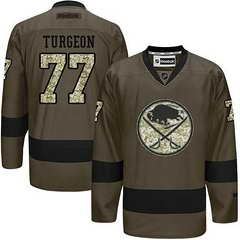Sabres #77 Pierre Turgeon Green Salute To Service Stitched NHL Jersey