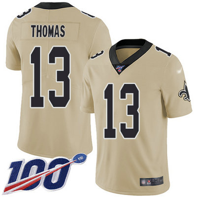 Saints #13 Michael Thomas Gold Men's Stitched Football Limited Inverted Legend 100th Season Jersey