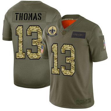 Saints #13 Michael Thomas Olive-Camo Men's Stitched Football Limited 2019 Salute To Service Jersey