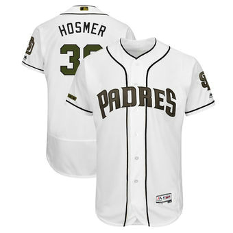 San Diego Padres 30 Eric Hosmer Majestic White Men's 2018 Memorial Day Authentic Collection Flex Base Player Jersey
