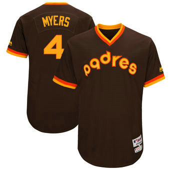 San Diego Padres 4 Wil Myers Majestic Brown 1983 Turn Back The Clock Men's Authentic Player Jersey