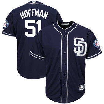 San Diego Padres 51 Trevor Hoffman Majestic Navy Hall Of Fame Induction Patch Men's Cool Base Jersey