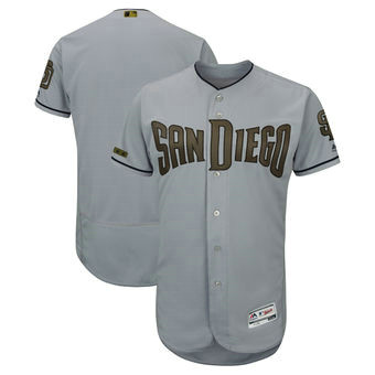 San Diego Padres Blank Majestic Gray Men's 2018 Memorial Day Authentic Collection Flex Base Team Jersey
