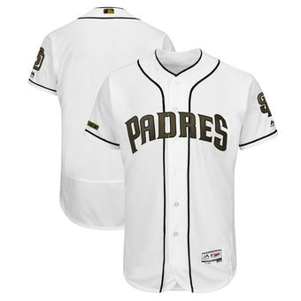 San Diego Padres Blank Majestic White Men's 2018 Memorial Day Authentic Collection Flex Base Team Jersey