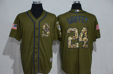 Seattle Mariners #24 Ken Griffey Jr. Retired Green Salute To Service Majestic Baseball Jersey