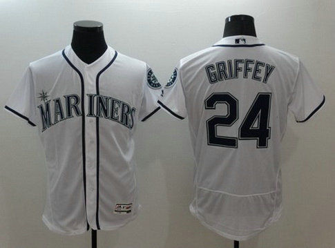 Seattle Mariners #24 Ken Griffey Jr. Retired White 2016 Flexbase Majestic Baseball Jersey